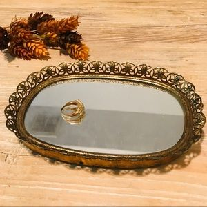 Other - Vintage oval intricate brass mirrored jewelry tray